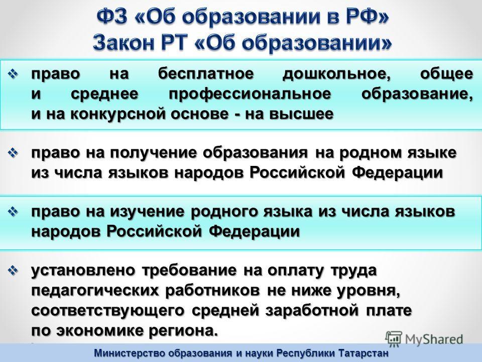 Министерство образования и науки Республики Татарстан право на бесплатное дошкольное, общее и среднее профессиональное образование, и на конкурсной основе - на высшее право на бесплатное дошкольное, общее и среднее профессиональное образование, и на