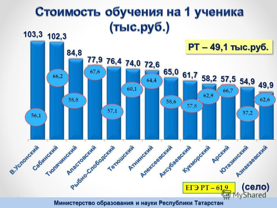 Министерство образования и науки Республики Татарстан РТ – 49,1 тыс.руб. (село)