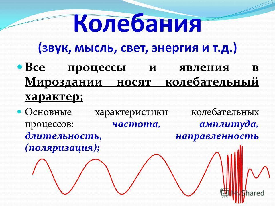 Колебания (звук, мысль, свет, энергия и т.д.) Все процессы и явления в Мироздании носят колебательный характер; Основные характеристики колебательных процессов: частота, амплитуда, длительность, направленность (поляризация);
