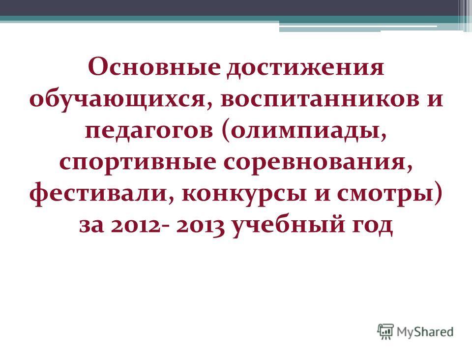 Основные достижения обучающихся, воспитанников и педагогов (олимпиады, спортивные соревнования, фестивали, конкурсы и смотры) за 2012- 2013 учебный год