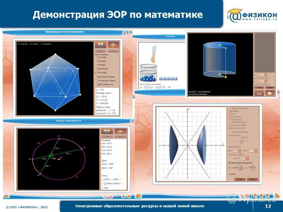 © ООО «ФИЗИКОН», 2012 12 Электронные образовательные ресурсы в нашей новой школе Демонстрация ЭОР по математике
