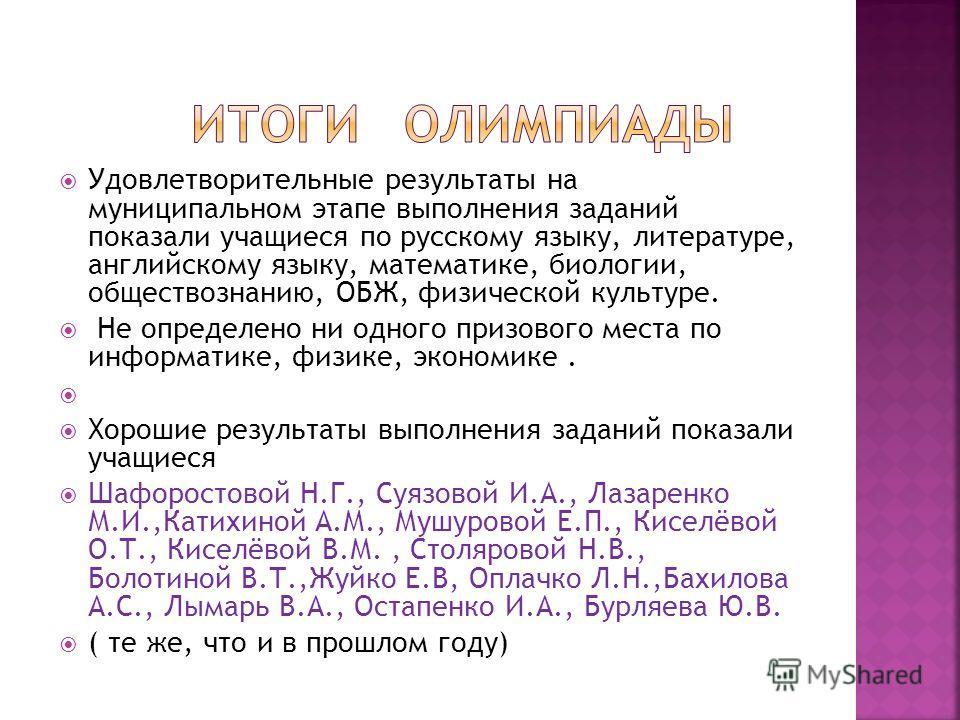 Удовлетворительные результаты на муниципальном этапе выполнения заданий показали учащиеся по русскому языку, литературе, английскому языку, математике, биологии, обществознанию, ОБЖ, физической культуре. Не определено ни одного призового места по инф