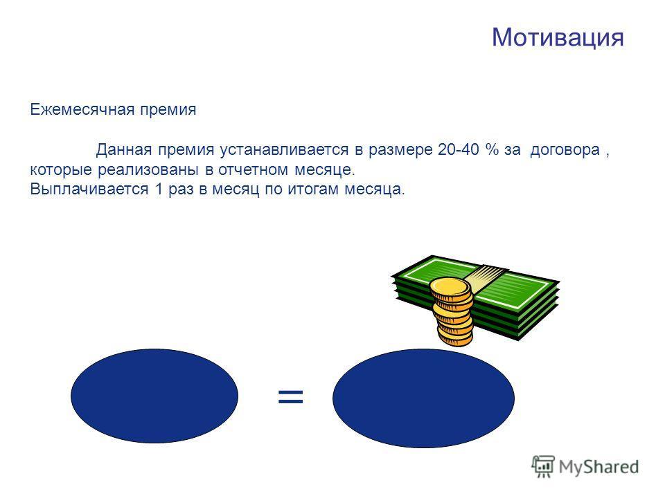 Мотивация Ежемесячная премия Данная премия устанавливается в размере 20-40 % за договора, которые реализованы в отчетном месяце. Выплачивается 1 раз в месяц по итогам месяца. =