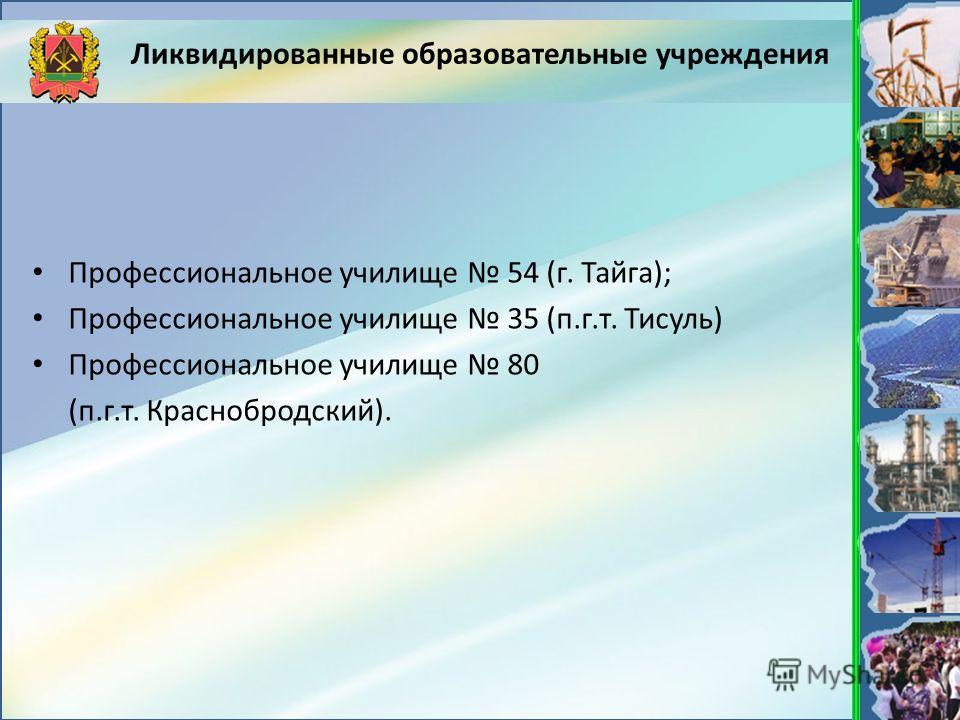 Ликвидированные образовательные учреждения Профессиональное училище 54 (г. Тайга); Профессиональное училище 35 (п.г.т. Тисуль) Профессиональное училище 80 (п.г.т. Краснобродский).