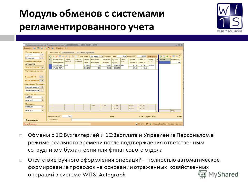 Модуль обменов с системами регламентированного учета Обмены с 1 С : Бухгалтерией и 1 С : Зарплата и Управление Персоналом в режиме реального времени после подтверждения ответственным сотрудником бухгалтерии или финансового отдела Отсутствие ручного о