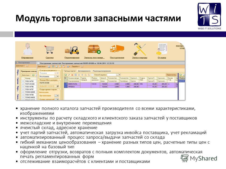 Модуль торговли запасными частями хранение полного каталога запчастей производителя со всеми характеристиками, изображениями инструменты по расчету складского и клиентского заказа запчастей у поставщиков межскладские и внутренние перемещения ячеистый
