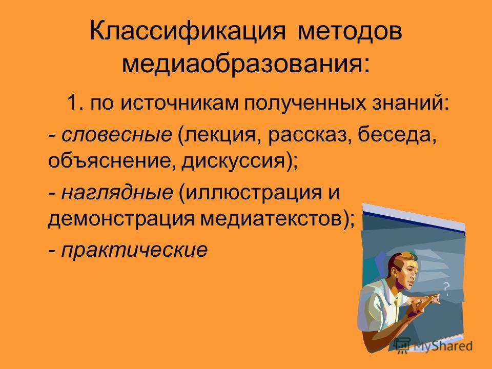 Классификация методов медиаобразования: 1. по источникам полученных знаний: - словесные (лекция, рассказ, беседа, объяснение, дискуссия); - наглядные (иллюстрация и демонстрация медиатекстов); - практические