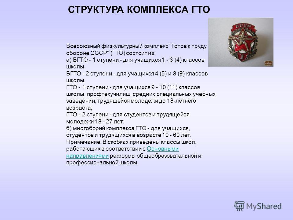 СТРУКТУРА КОМПЛЕКСА ГТО Всесоюзный физкультурный комплекс