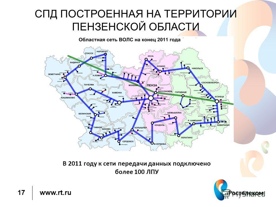 www.rt.ru 17 В 2011 году к сети передачи данных подключено более 100 ЛПУ СПД ПОСТРОЕННАЯ НА ТЕРРИТОРИИ ПЕНЗЕНСКОЙ ОБЛАСТИ