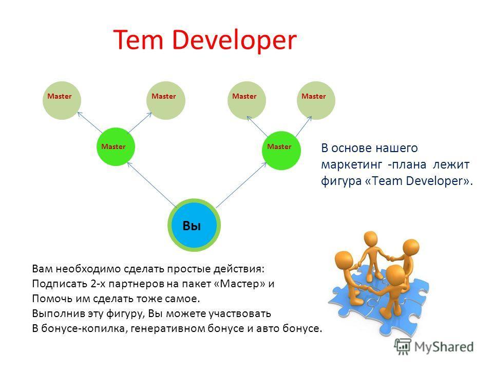 Tem Developer Master В основе нашего маркетинг -плана лежит фигура «Тeam Developer». Вы Вам необходимо сделать простые действия: Подписать 2-х партнеров на пакет «Мастер» и Помочь им сделать тоже самое. Выполнив эту фигуру, Вы можете участвовать В бо