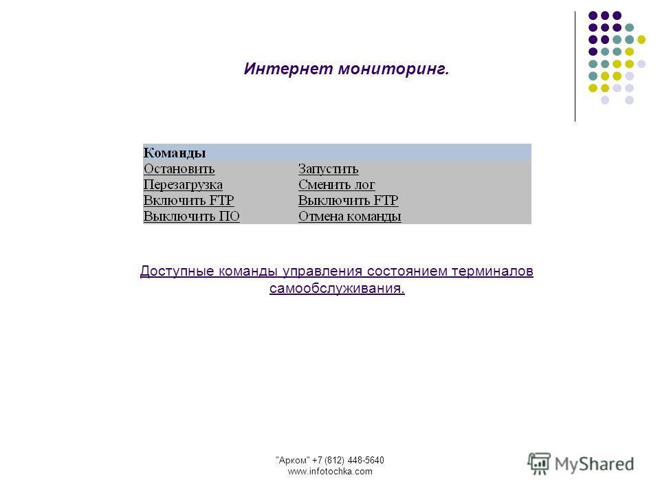 Арком +7 (812) 448-5640 www.infotochka.com Доступные команды управления состоянием терминалов самообслуживания. Интернет мониторинг.