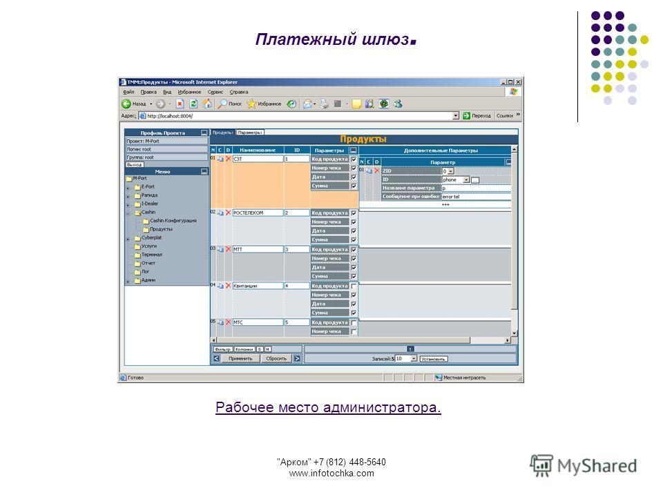 Арком +7 (812) 448-5640 www.infotochka.com Рабочее место администратора. Платежный шлюз.
