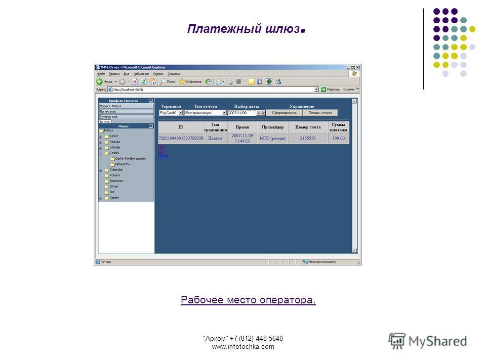 Арком +7 (812) 448-5640 www.infotochka.com Рабочее место оператора. Платежный шлюз.