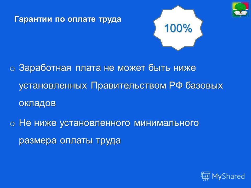 Гарантии по оплате труда o Заработная плата не может быть ниже установленных Правительством РФ базовых окладов o Не ниже установленного минимального размера оплаты труда 100%
