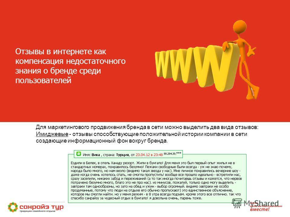 Отзывы в интернете как компенсация недостаточного знания о бренде среди пользователей. Для маркетингового продвижения бренда в сети можно выделить два вида отзывов: Имиджевые - отзывы способствующие положительной истории компании в сети создающие инф