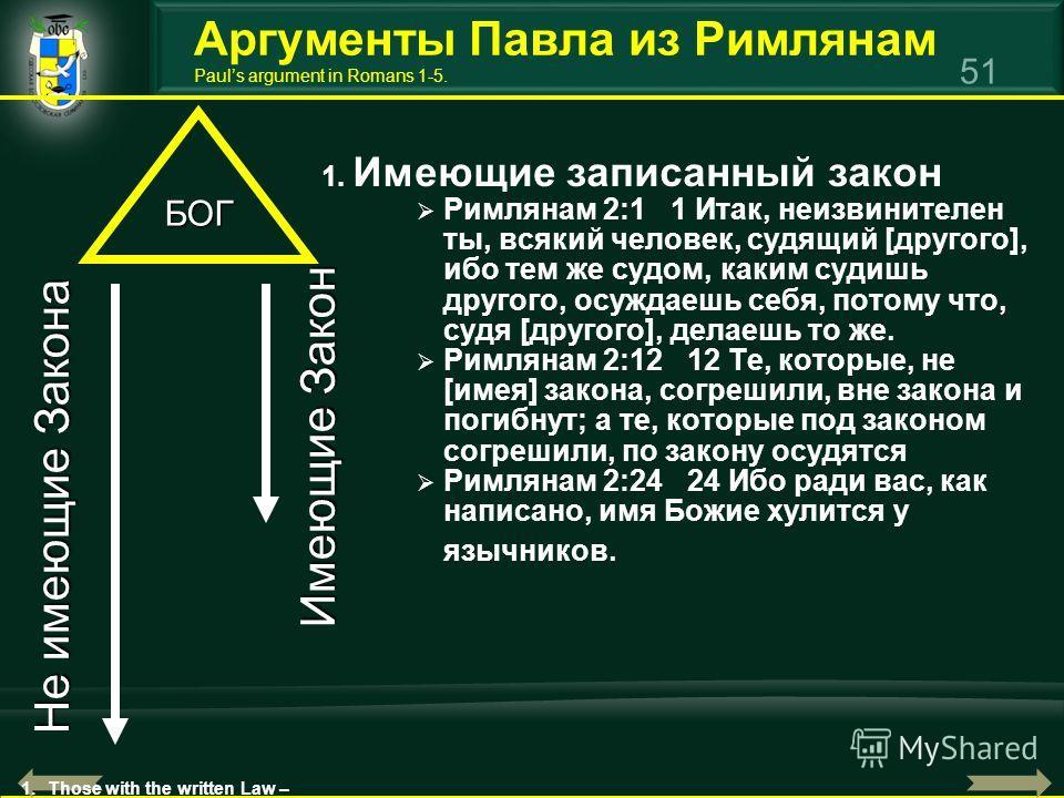 51 1. Имеющие записанный закон Римлянам 2:1 1 Итак, неизвинителен ты, всякий человек, судящий [другого], ибо тем же судом, каким судишь другого, осуждаешь себя, потому что, судя [другого], делаешь то же. Римлянам 2:12 12 Те, которые, не [имея] закона