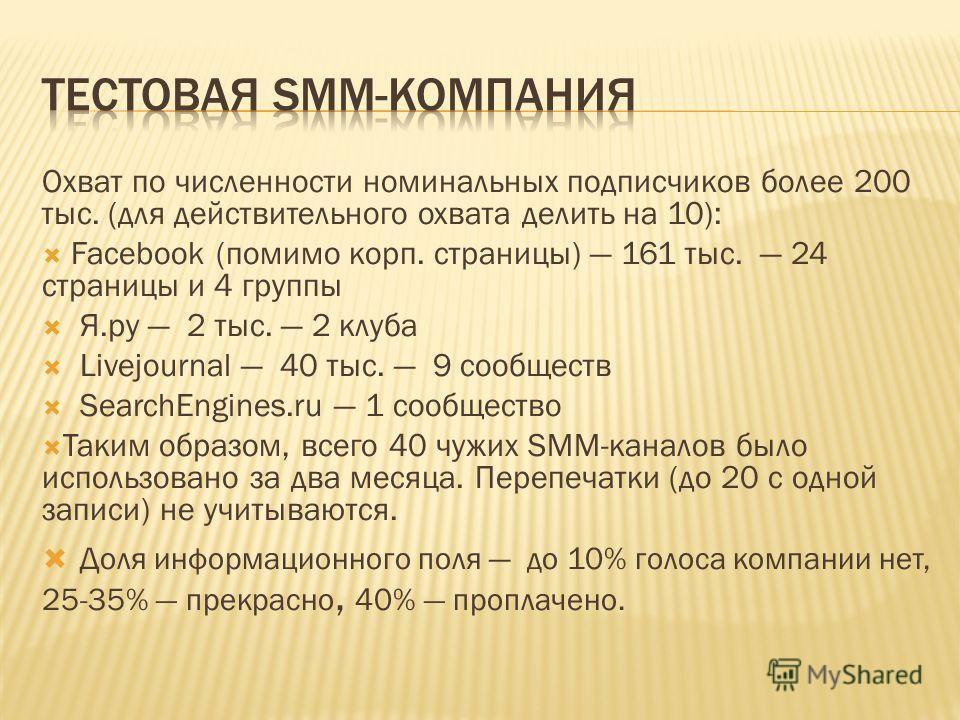 Охват по численности номинальных подписчиков более 200 тыс. (для действительного охвата делить на 10): Facebook (помимо корп. страницы) 161 тыс. 24 страницы и 4 группы Я.ру 2 тыс. 2 клуба Livejournal 40 тыс. 9 сообществ SearchEngines.ru 1 сообщество