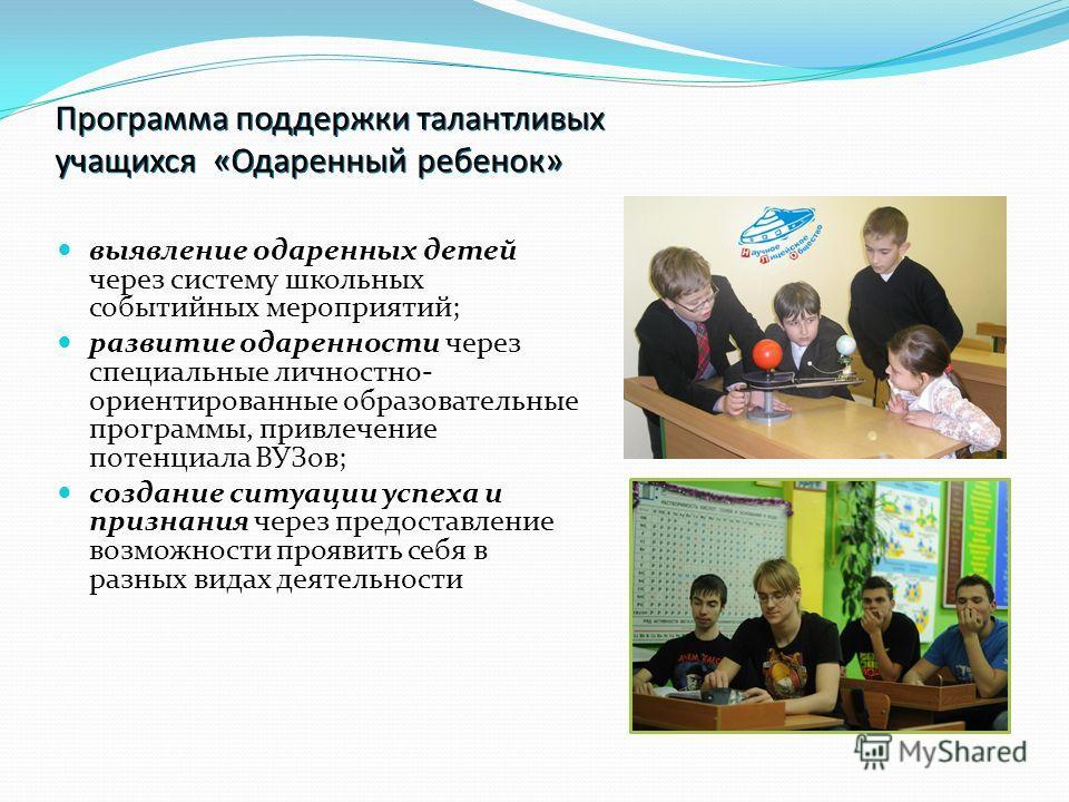 Программа поддержки талантливых учащихся «Одаренный ребенок» выявление одаренных детей через систему школьных событийных мероприятий; развитие одаренности через специальные личностно- ориентированные образовательные программы, привлечение потенциала
