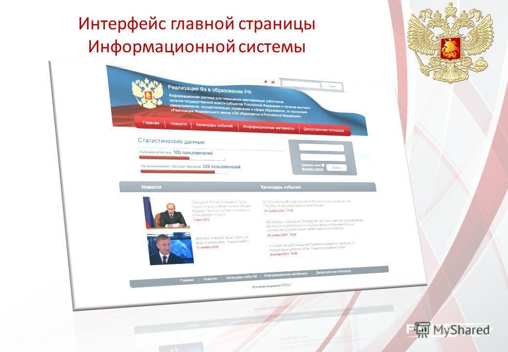 Интерфейс главной страницы Информационной системы