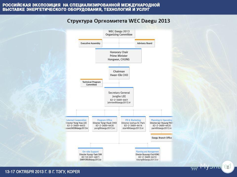 Структура Оргкомитета WEC Daegu 2013 8
