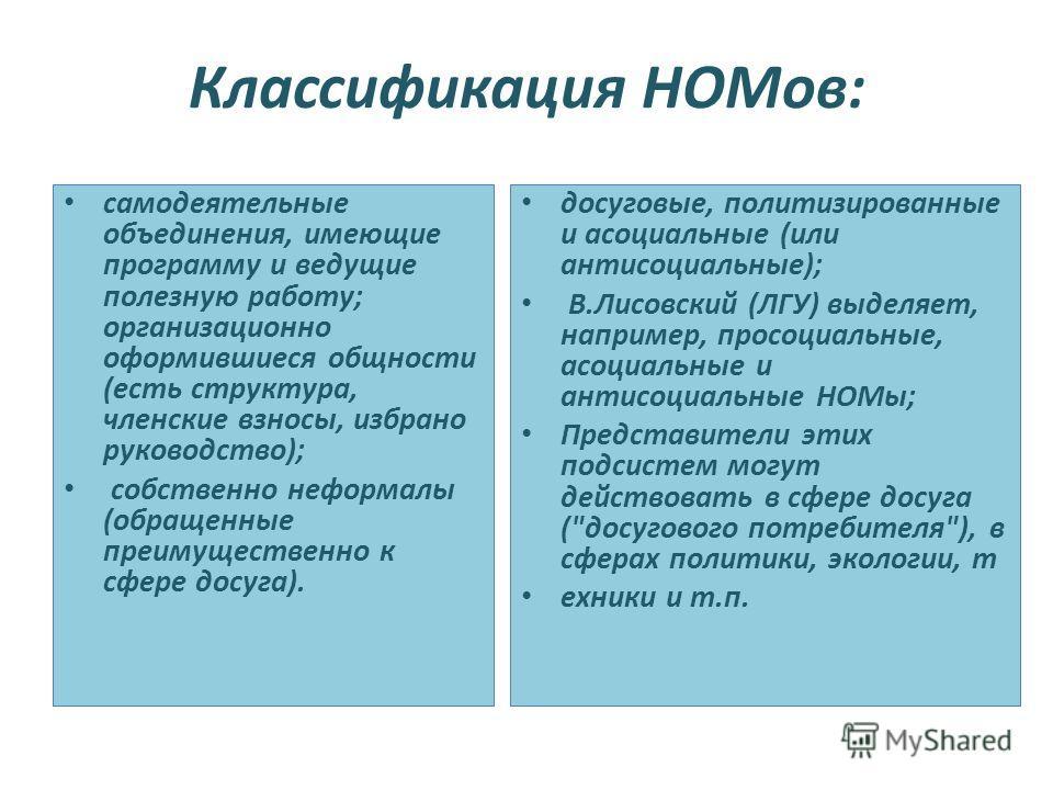 Классификация НОМов: самодеятельные объединения, имеющие программу и ведущие полезную работу; организационно оформившиеся общности (есть структура, членские взносы, избрано руководство); собственно неформалы (обращенные преимущественно к сфере досуга