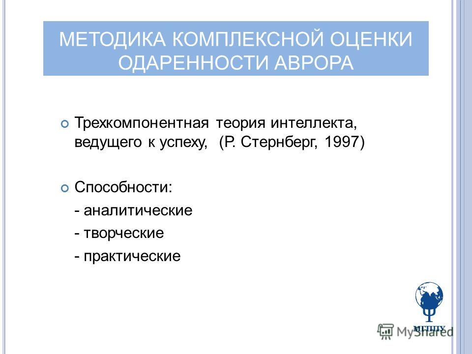 МЕТОДИКА КОМПЛЕКСНОЙ ОЦЕНКИ ОДАРЕННОСТИ АВРОРА Трехкомпонентная теория интеллекта, ведущего к успеху, (Р. Стернберг, 1997) Способности: - аналитические - творческие - практические