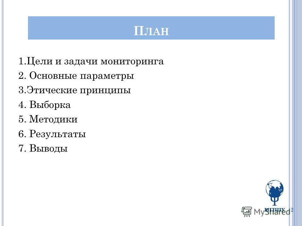 П ЛАН 1.Цели и задачи мониторинга 2. Основные параметры 3.Этические принципы 4. Выборка 5. Методики 6. Результаты 7. Выводы 2