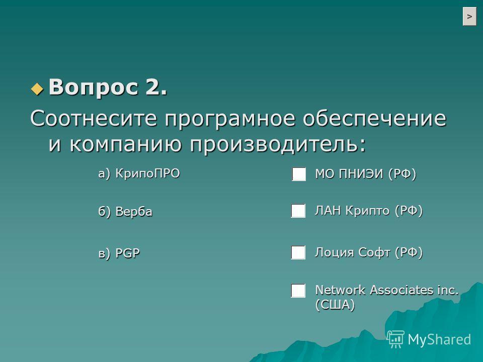 а) КрипоПРО б) Верба в) PGP ЛАН Крипто (РФ) МО ПНИЭИ (РФ) Лоция Софт (РФ) Network Associates inc. (США) Вопрос 2. Вопрос 2. Cоотнесите програмное обеспечение и компанию производитель: