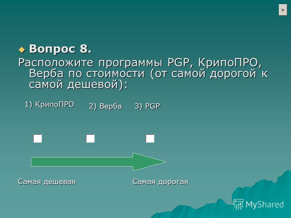 1) КрипоПРО 2) Верба 3) PGP Вопрос 8. Вопрос 8. Расположите программы PGP, КрипоПРО, Верба по стоимости (от самой дорогой к самой дешевой): Самая дорогая Самая дешевая