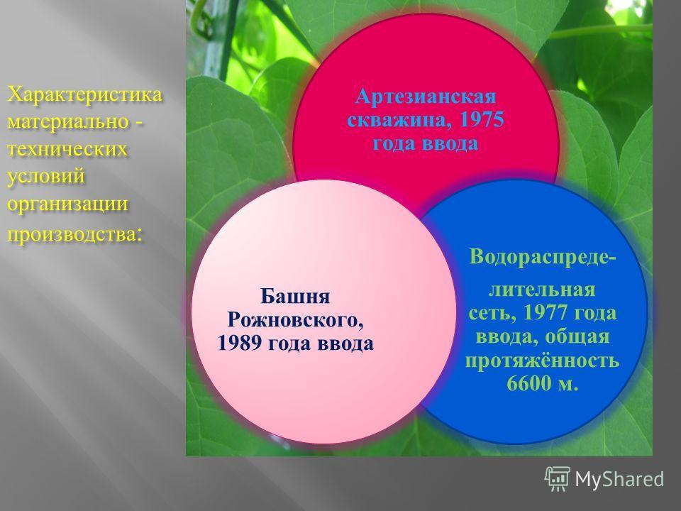 Характеристика материально - технических условий организации производства : Артезианская скважина, 1975 года ввода Водораспреде- лительная сеть, 1977 года ввода, общая протяжённость 6600 м. Башня Рожновского, 1989 года ввода