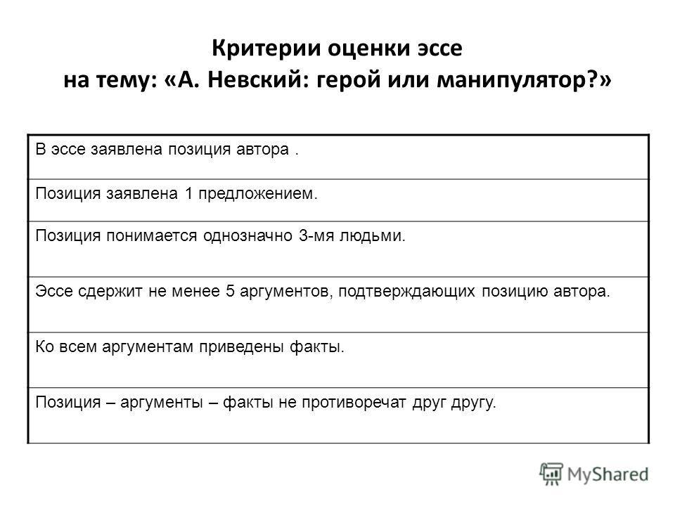 Критерии оценки эссе на тему: «А. Невский: герой или манипулятор?» В эссе заявлена позиция автора. Позиция заявлена 1 предложением. Позиция понимается однозначно 3-мя людьми. Эссе сдержит не менее 5 аргументов, подтверждающих позицию автора. Ко всем