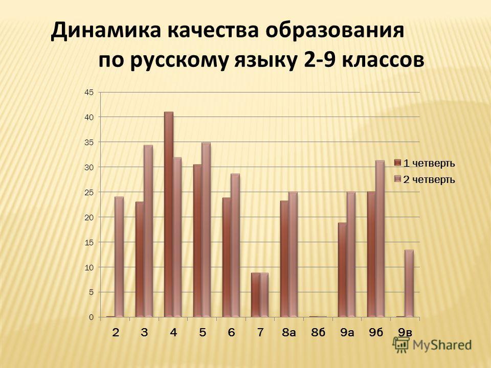 Динамика качества образования по русскому языку 2-9 классов