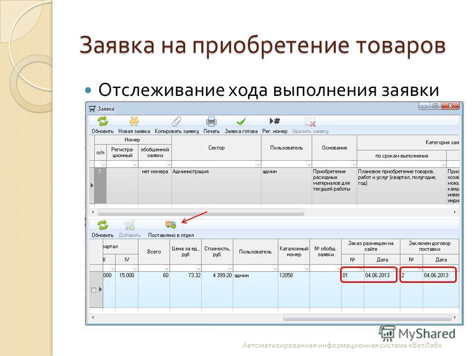 Заявка на приобретение товаров Отслеживание хода выполнения заявки Автоматизированная информационная система « ВетЛаб »