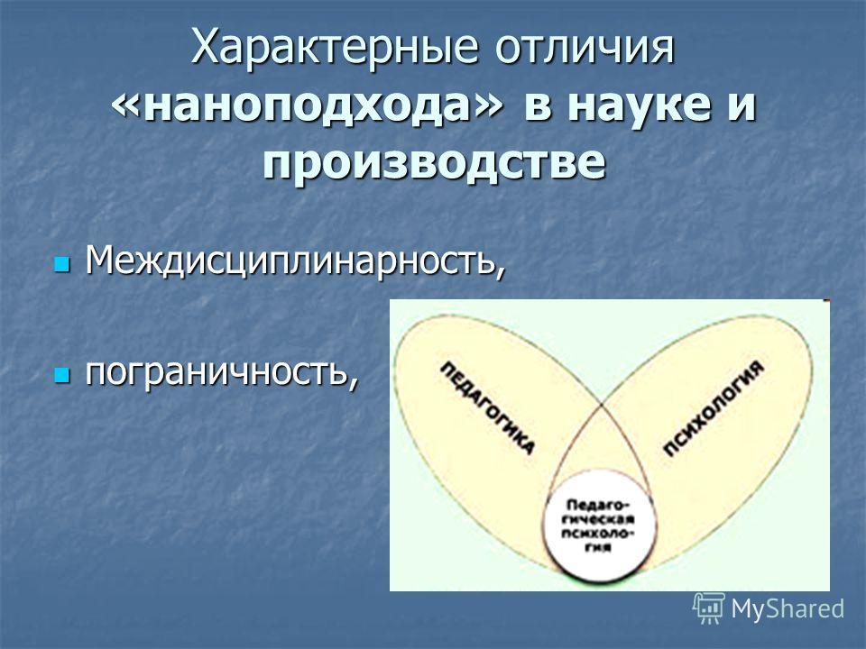 Характерные отличия «наноподхода» в науке и производстве Междисциплинарность, Междисциплинарность, пограничность, пограничность,