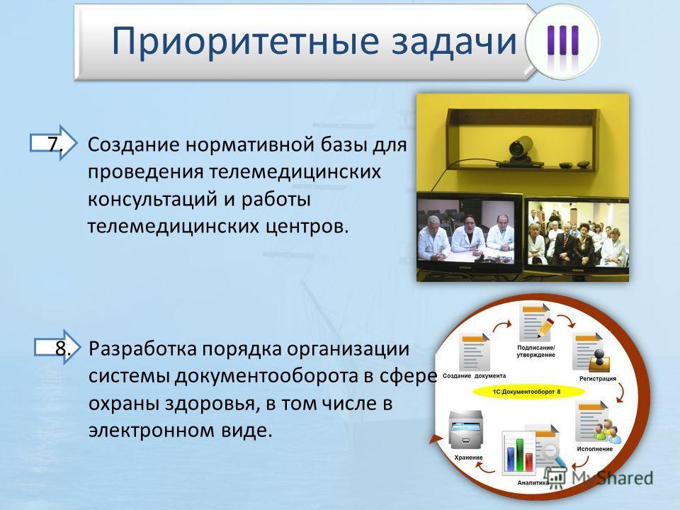 7.Создание нормативной базы для проведения телемедицинских консультаций и работы телемедицинских центров. 8.Разработка порядка организации системы документооборота в сфере охраны здоровья, в том числе в электронном виде. Приоритетные задачи