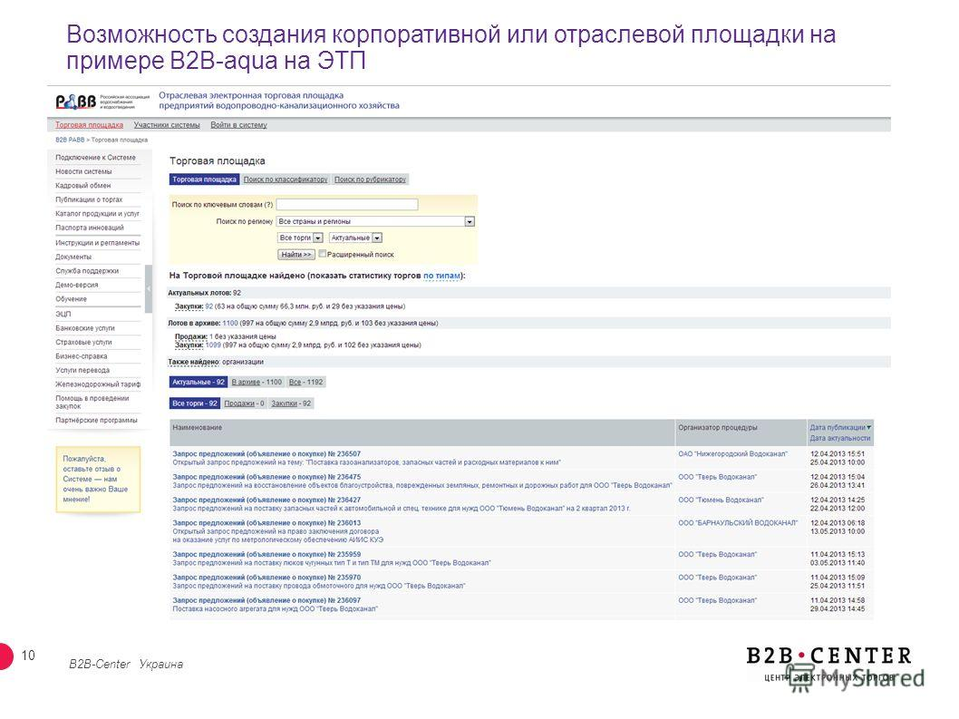 9 Возможность выстраивания иерархии организаций B2B-Center Украина