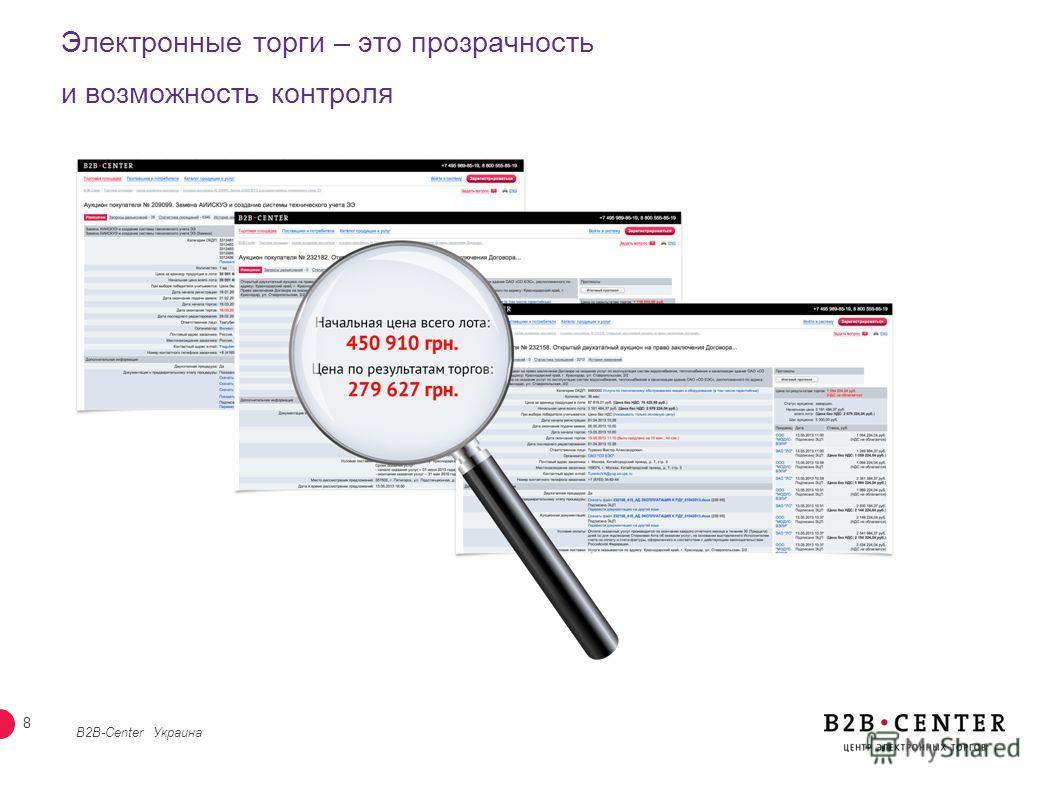 7 Сокращение операционных издержек при подготовке и участии в торгах B2B-Center Украина Объявление закупки Принятие решения 70% Делаете вы Делает B2B-Center