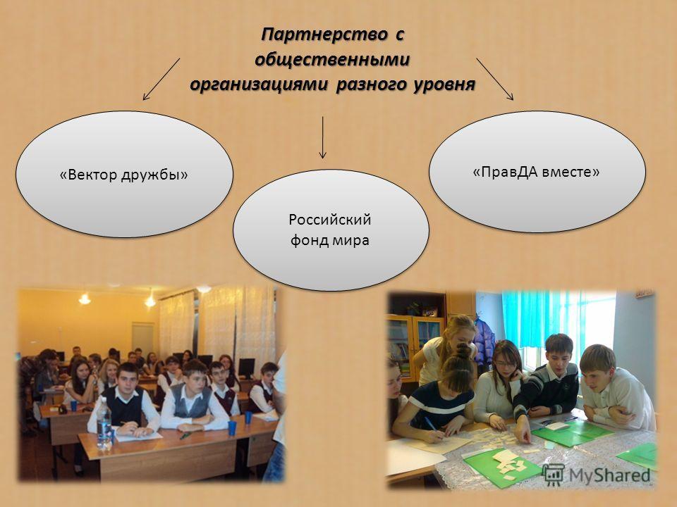 Партнерство с общественными организациями разного уровня «Вектор дружбы» Российский фонд мира «ПравДА вместе»