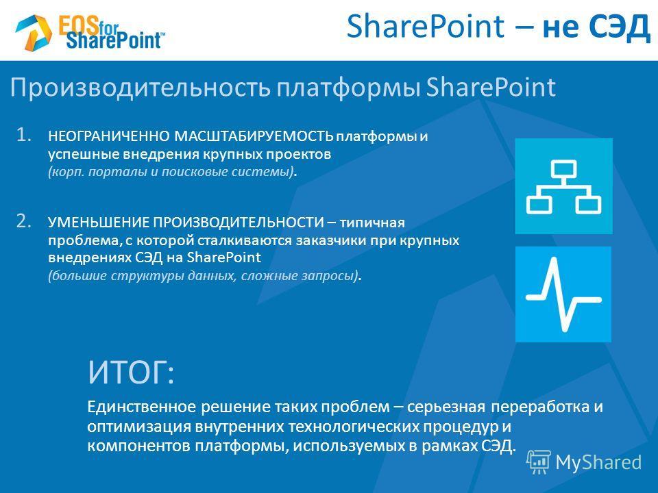 1. НЕОГРАНИЧЕННО МАСШТАБИРУЕМОСТЬ платформы и успешные внедрения крупных проектов (корп. порталы и поисковые системы). SharePoint – не СЭД Производительность платформы SharePoint 2. УМЕНЬШЕНИЕ ПРОИЗВОДИТЕЛЬНОСТИ – типичная проблема, с которой сталкив