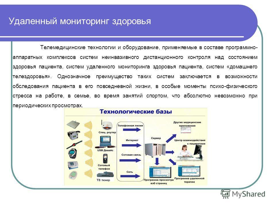 Удаленный мониторинг здоровья Телемедицинские технологии и оборудование, применяемые в составе программно- аппаратных комплексов систем неинвазивного дистанционного контроля над состоянием здоровья пациента, систем удаленного мониторинга здоровья пац