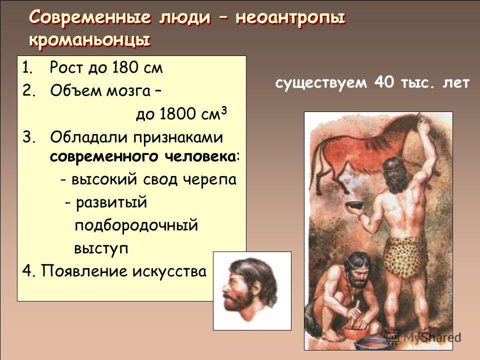 существуем 40 тыс. лет Современные люди – неоантропы кроманьонцы 1.Рост до 180 см 2.Объем мозга – до 1800 см 3 3.Обладали признаками современного человека: - высокий свод черепа - развитый подбородочный выступ 4. Появление искусства