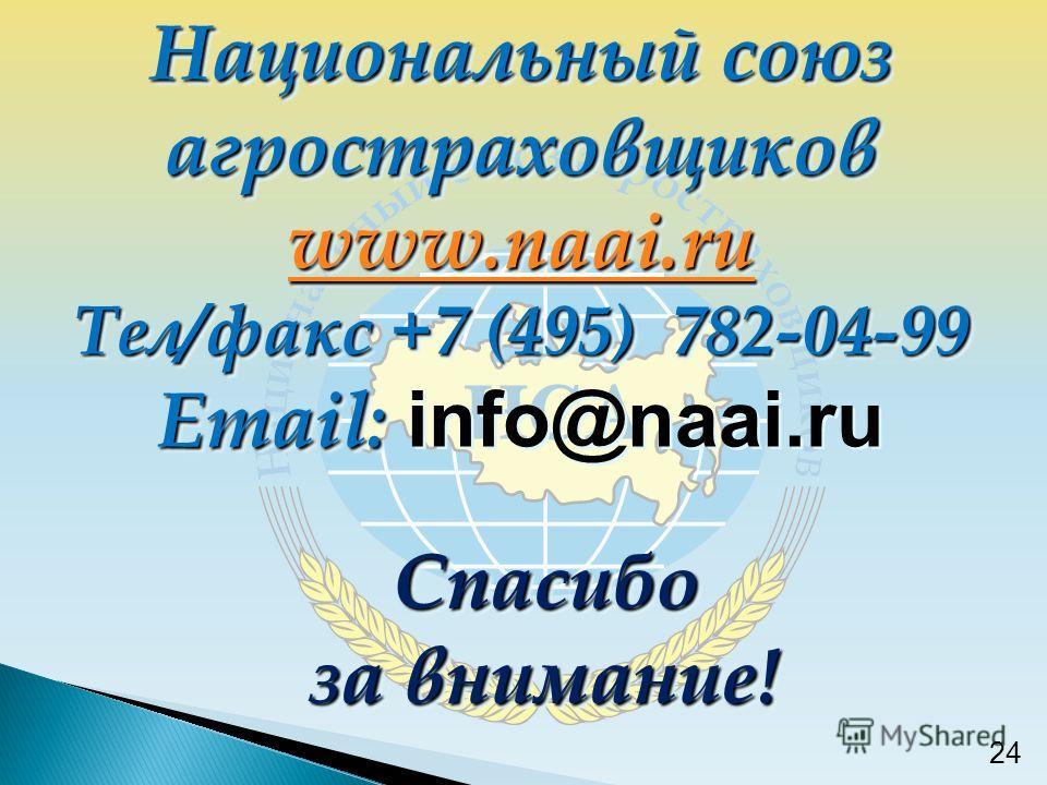 Спасибо за внимание! 24 Национальный союз агростраховщиков www.naai.ru Тел/факс +7 (495) 782-04-99 Email: Email: info@naai.ru Национальный союз агростраховщиков www.naai.ru Тел/факс +7 (495) 782-04-99 Email: Email: info@naai.ru