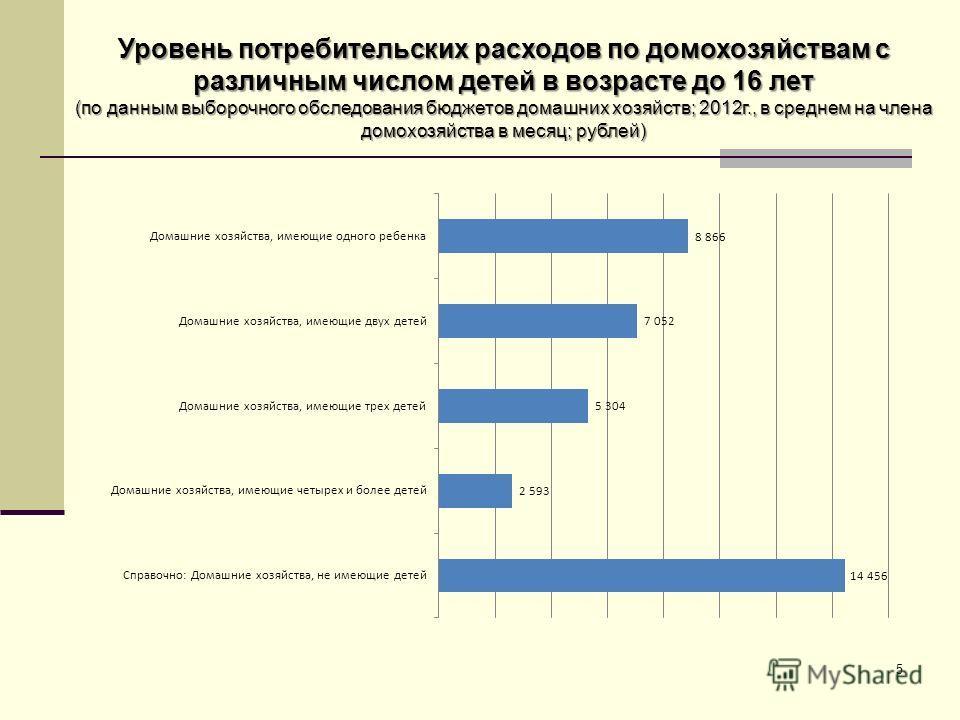 Уровень потребительских расходов по домохозяйствам с различным числом детей в возрасте до 16 лет (по данным выборочного обследования бюджетов домашних хозяйств; 2012г., в среднем на члена домохозяйства в месяц; рублей) 5