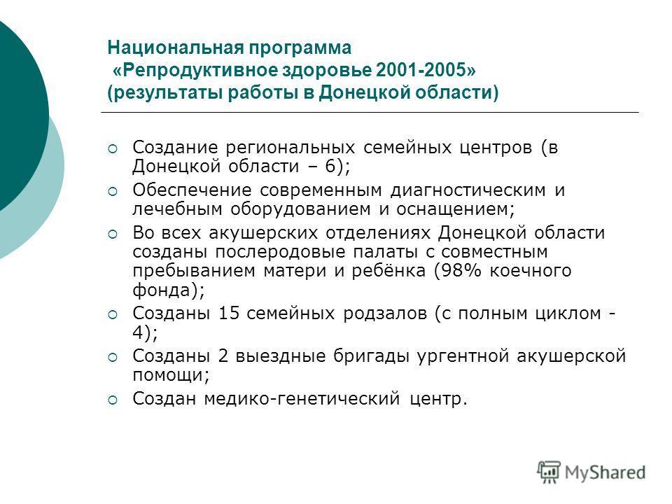 Национальная программа «Репродуктивное здоровье 2001-2005» (результаты работы в Донецкой области) Создание региональных семейных центров (в Донецкой области – 6); Обеспечение современным диагностическим и лечебным оборудованием и оснащением; Во всех
