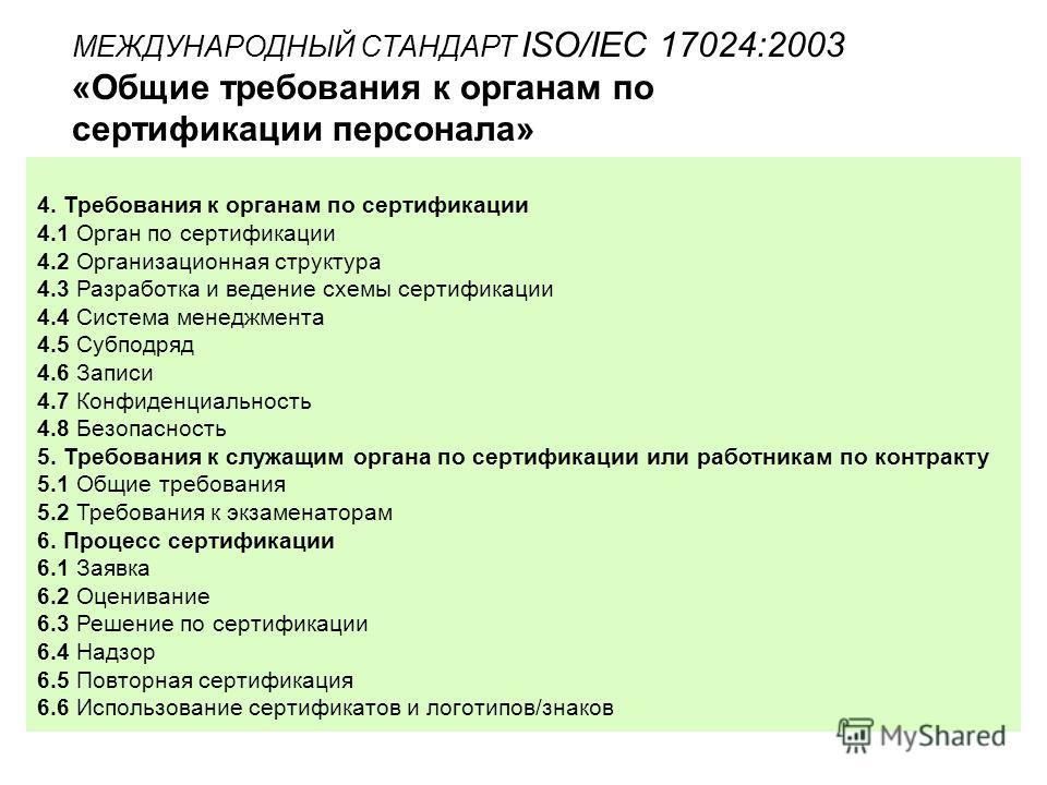 МЕЖДУНАРОДНЫЙ СТАНДАРТ ISO/IEC 17024:2003 «Общие требования к органам по сертификации персонала» 4. Требования к органам по сертификации 4.1 Орган по сертификации 4.2 Организационная структура 4.3 Разработка и ведение схемы сертификации 4.4 Система м