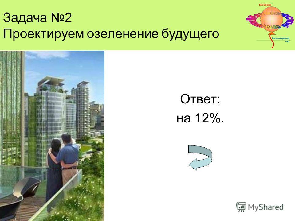 Ответ: на 12%. Задача 2 Проектируем озеленение будущего