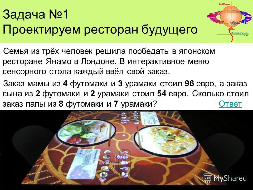 Задача 1 Проектируем ресторан будущего Семья из трёх человек решила пообедать в японском ресторане Янамо в Лондоне. В интерактивное меню сенсорного стола каждый ввёл свой заказ. Заказ мамы из 4 футомаки и 3 урамаки стоил 96 евро, а заказ сына из 2 фу