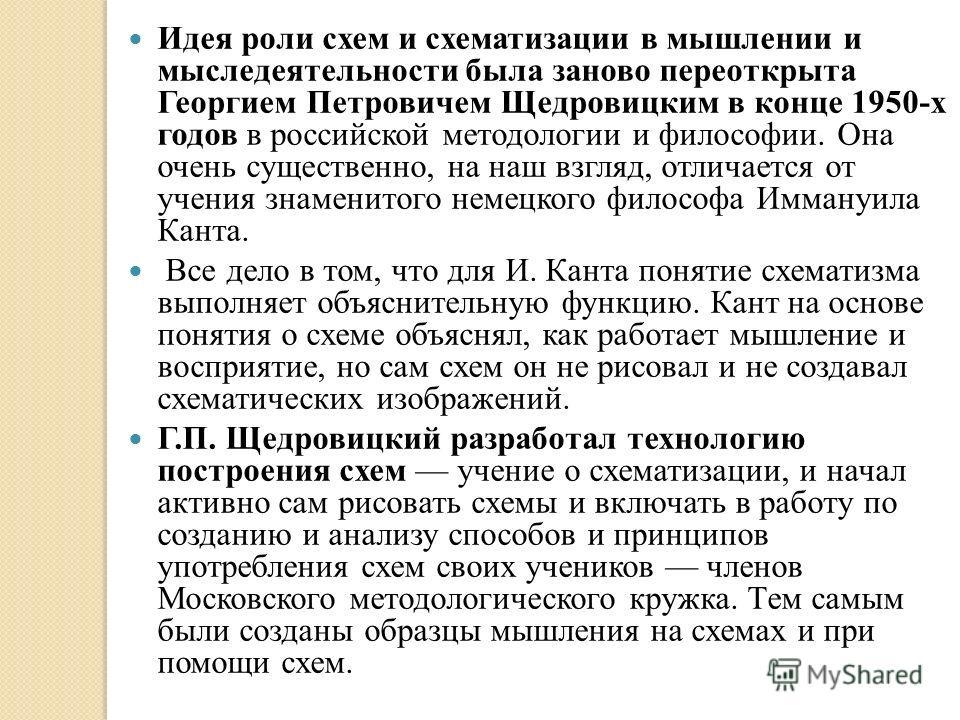 Идея роли схем и схематизации в мышлении и мыследеятельности была заново переоткрыта Георгием Петровичем Щедровицким в конце 1950-х годов в российской методологии и философии. Она очень существенно, на наш взгляд, отличается от учения знаменитого нем