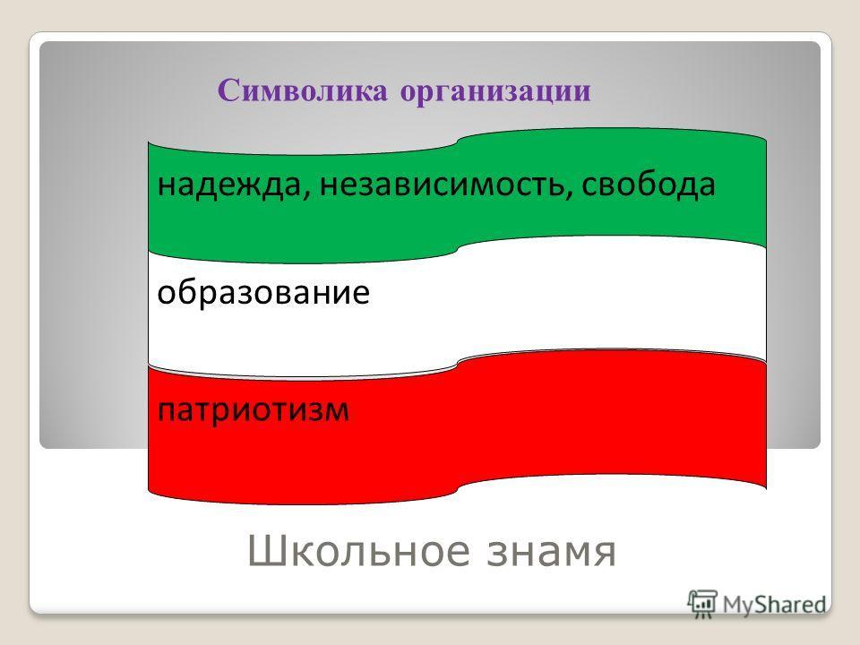 Школьное знамя надежда, независимость, свобода образование патриотизм Символика организации