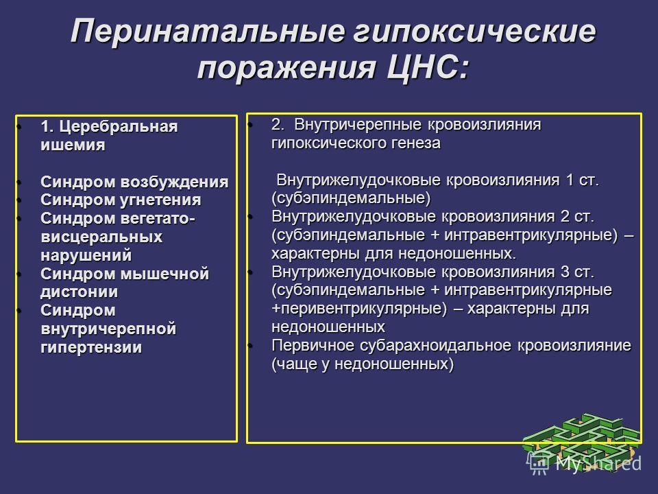 Перинатальные гипоксические поражения ЦНС: 1. Церебральная ишемия 1. Церебральная ишемия Синдром возбуждения Синдром возбуждения Синдром угнетения Синдром угнетения Синдром вегетато- висцеральных нарушений Синдром вегетато- висцеральных нарушений Син